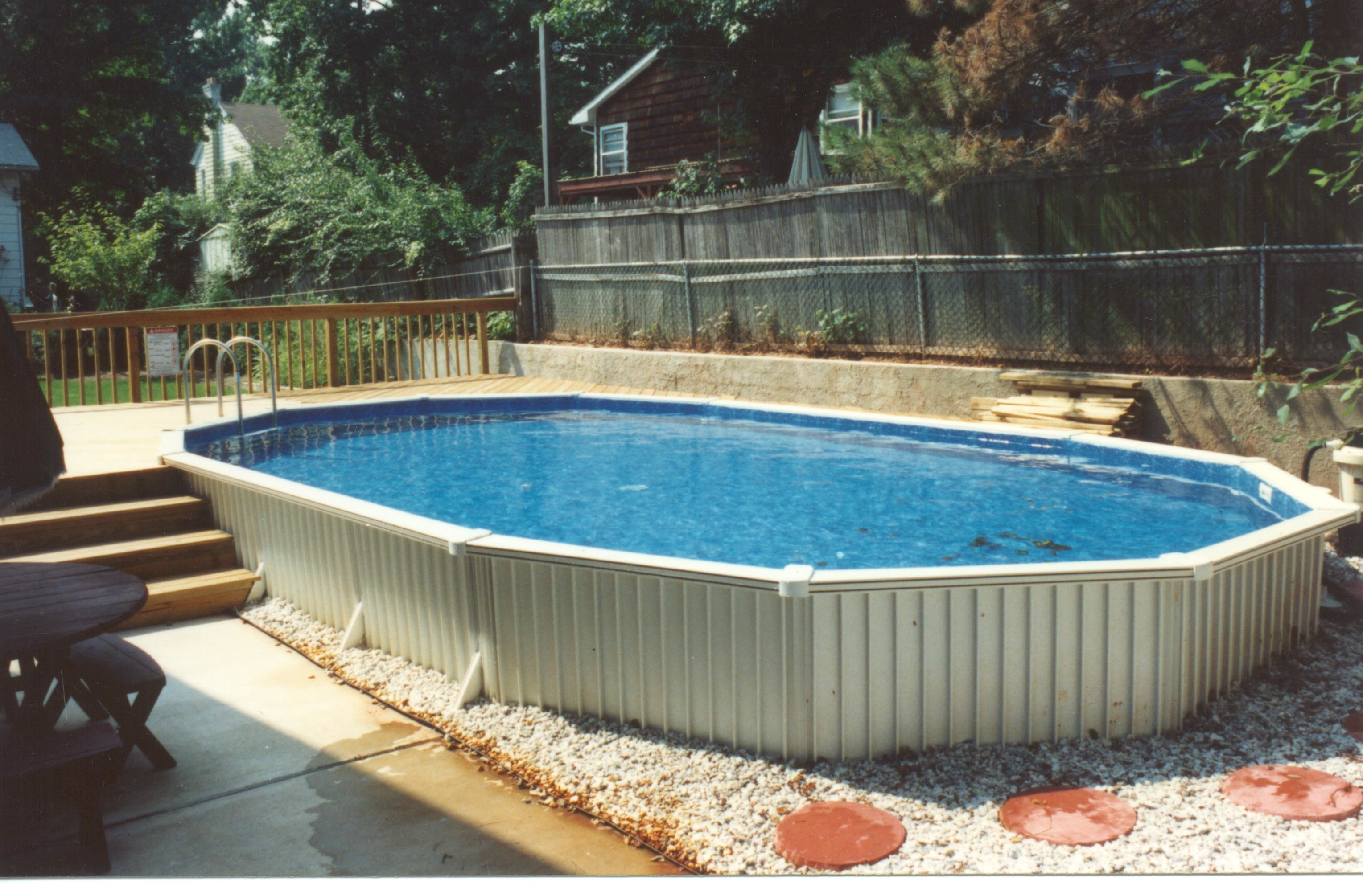 Semi inground pools brands options prices reviews and advice for Pool prices